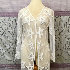 Tops - Sheer Beaded Duster with Stars